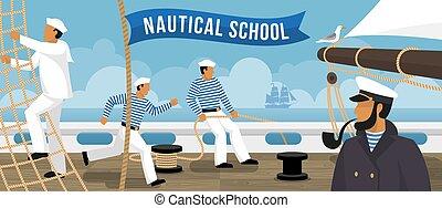nautico, scuola, barca vela, appartamento, bandiera