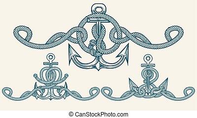 nautico, set, emblema, ancorare, retro