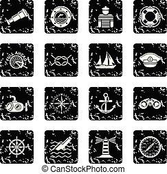 nautique, ensemble, vecteur, grunge, icônes