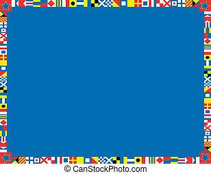 nautique, frontière, drapeau