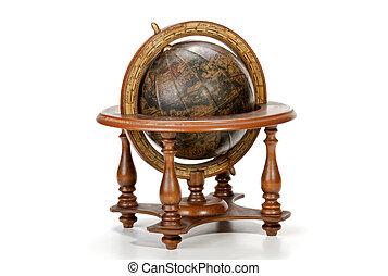 nautique, globe mondial, sur, sommet table, stand bois