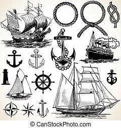 nautique, icône, ensemble