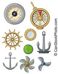 nautique, marin, bateau, voile, ancre, symboles, icônes