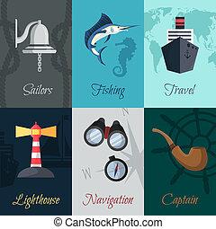 nautique, mini, affiches, ensemble