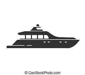 nautique, plat, mer, vector., ship., yacht., silhouette, illustration, noir, vaisseau