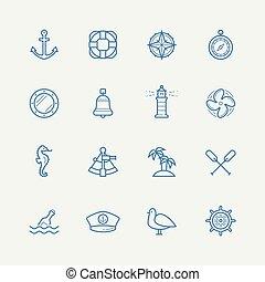 nautique, vecteur, ensemble, icône