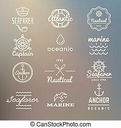 nautique, vendange, marine, étiquettes, marin