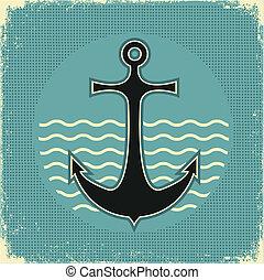 nautisch, anchor.vintage, beeld, op, oud, papier, textuur