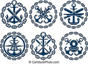 nautisch, emblems, marinier, iconen