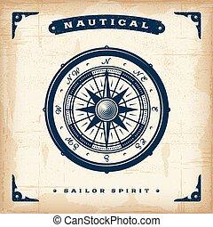 nautisch, ouderwetse , kompas
