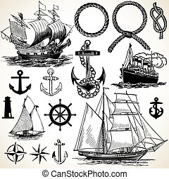 nautisch, pictogram, set