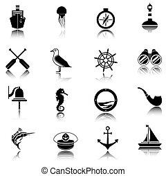 nautisch, set, black , iconen