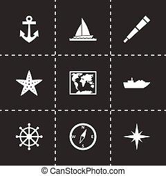 nautisch, vector, set, pictogram