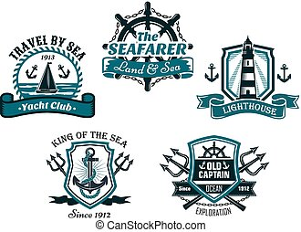 Nautival various heraldic emblem and symbols designs with travel by sea, yacht club, seafarer, lighhouse, king of the sea and old captain badge elements