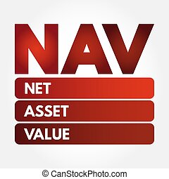 NAV - Net Asset Value acronym, business concept background