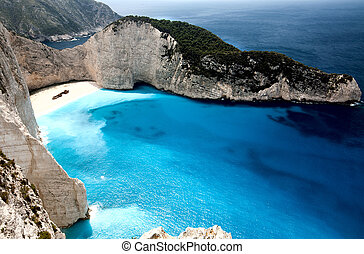 Navagio beach at Zakynthos island in Greece. Aerial view