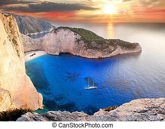 Navagio beach in Zakynthos, Greece - Famous Navagio beach...