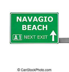 NAVAGIO BEACH road sign isolated on white