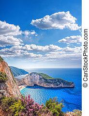 Navagio beach with shipwreck on Zakynthos island in Greece