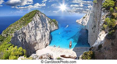 navagio, playa, zakynthos, grecia