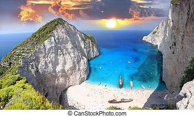 navagio, strand, zakynthos, grekland