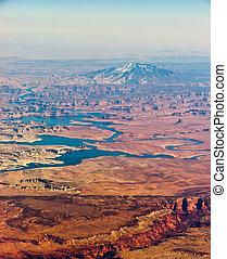 navajo, bjerg, antenne