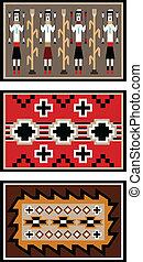 Vector illustration of three blanket or rug designs based on old Navajo rugs.