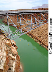 Navajo Bridge Crossing Marble Canyon with Rafters Below