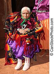 Navajo Elder in Bright Traditional Clothing