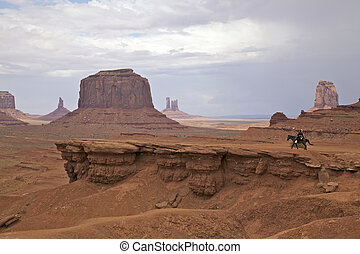 Navajo Horsewoman Monument Valley