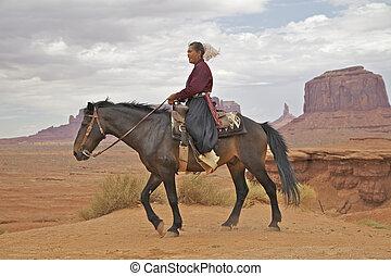 navajo, mujer, caballo