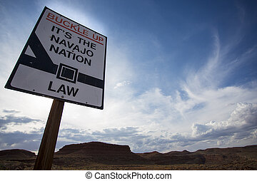 Navajo nation state law sign with wild landscape