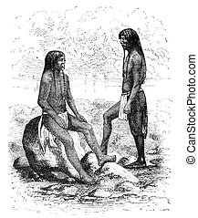 """Navajo native americans in Arizona. Illustration originally published in Ernst von Hesse-Wartegg's """"Nord Amerika"""", swedish edition published in 1880. The image is currently in Public domain by virtue of age."""