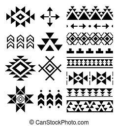 navajo, patrón, impresión, azteca, tribal