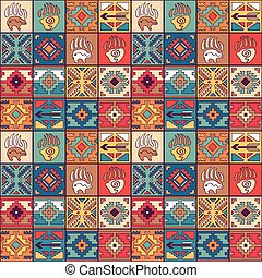 Navajo seamless colorful tribal pattern