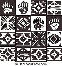 Navajo seamless monochrom tribal pattern