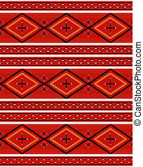 Navajo textile pattern - Seamless Navajo textile red pattern