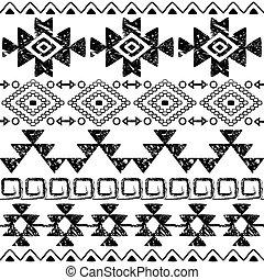 navajo, tribal, seamless, aztèque, main, conception, retro, grattements, dessiné, modèle, impression