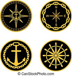Naval Badges - Round nautical emblems. Vector set for naval...