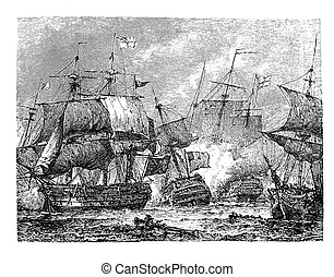 Naval battle of Abukir,  engraving middle ' 800