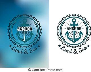 naval, cadena, heráldico, redondo, insignia, ancla