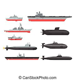 Naval combat ships set, military boats, ships, submarine vector Illustrations