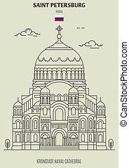 naval, kronstadt, cathédrale, repère, russia., saint, icône, petersburg