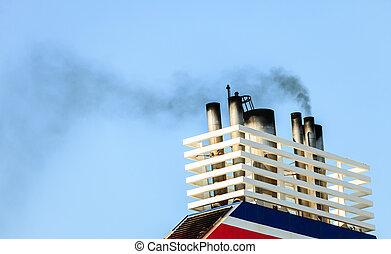 Vessel chimneys releasing smoke. - Naval maritime sea...