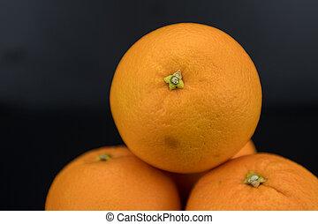 Naval Orange Close Up against black background
