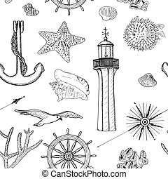 Naval seamless vector pattern set nautical silhouette symbols. Gulls, helm, anchor, light house, coral, shell, wind rose, swellfish, sea star, starfish mussel Ink pen engraved sketch style prints