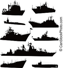 Naval set - High detailed military ship silhouettes set. ...