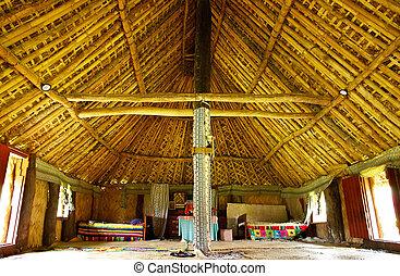 navala, casa, tradicional, viti, aldea, levu, interior, fiji