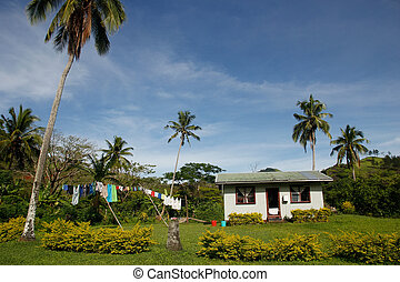 navala, casa, tradizionale, viti, villaggio, levu, figi