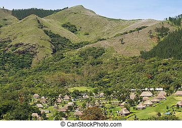 navala, tradicional, casas, viti, aldea, levu, fiji